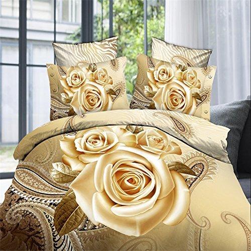 3Dゴールドローズプリント寝具セット、*コットンミディアムダブルベッド3D寝具、4ピース掛け布団カバー、シーツ、2枕カバー(掛け布団なし)