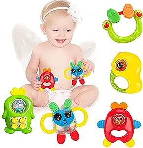 Naovio 5 件套彩色婴儿牙胶玩具套装适用于婴儿和学步儿童,**牙胶