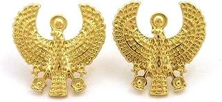 埃及古老马鸟类穿孔耳钉 金色调
