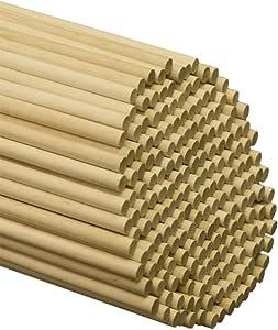 """木制定位杆 - 0.95cm x 30.48cm 未抛光硬木棒 - 适用于工艺品和 DIYers - 木制工艺品 50 Wooden Dowel Rods 3/8"""" x 12"""" -50"""