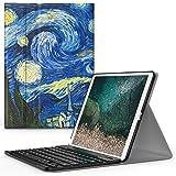 美国MoKo 苹果 iPad Pro 10.5 蓝牙键盘 蓝牙3.0无线距离10米 可分离式 iPad10.5智能休眠键盘皮套 适用于全新Apple iPad Pro 10.5英寸【2017新款】平板电脑无线蓝牙键盘保护套 梵高-星空