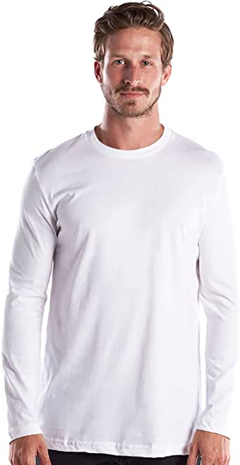 US Blanks 男士长袖优质圆领,美国制造