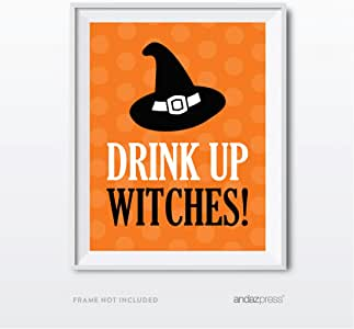 Andaz Press 经典黑橙色万圣节派对系列 Party Sign Drink Up Witches AP12314