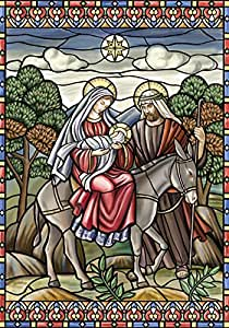 Toland Home Garden Stained Glass Nativity 12.5 x 18 Inch Decorative Jesus Mary Joseph Christmas Star Garden Flag