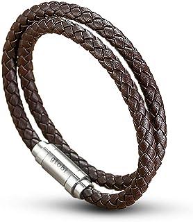 Globi 男士皮革手链 | 正品缠绕式编织皮革袖口手镯手链带磁性不锈钢扣男式/女式