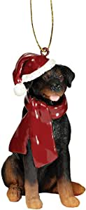 Design Toscano Rottweiler Holiday Dog Ornament Sculpture, Full Color