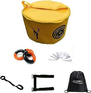 POSMA HB010T 高尔夫击球袋挥杆冲击力抽象袋训练套装带重量力量挥杆环红色和黑色 + 铅重胶带 + 3 个肘部支撑姿势矫正器 + 束带手提袋