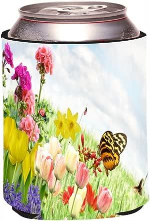 "Rikki Knight RKws-KOOZIE-43298 ""Orange Butterfly resting on Spring Colorful Flowers in Field Design"" Beer Can/Soda Drink Cooler Koozie"