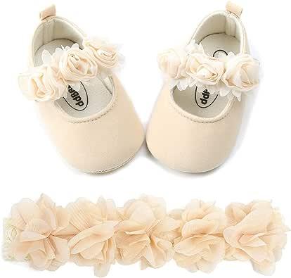 BENHERO 女婴软底花朵玛丽珍鞋学步鞋婚礼礼服鞋 F-beige+headband 0-6 Months Infant