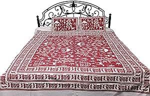 灵感来自于 Warli Art 的手工印制民间人物床品 - 纯棉带枕套 唇膏红 8.2 ft x 7.2 ft SYE11-lipstick-red