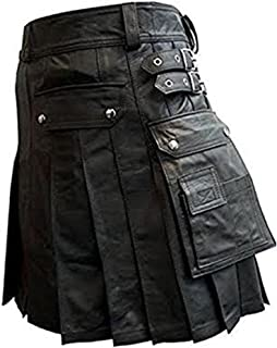 Halloween 男式真皮角斗士打褶實用短裙
