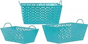 Urban Trends 金属矩形篮,金属手柄和打孔侧边(3 件套),蓝色