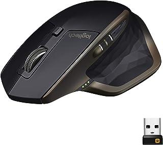 Logitech 罗技 MX Master无线鼠标,蓝牙或2.4 GHz,带有USB优联迷你接收器,1000 DPI任何表面激光跟踪,5按钮,亚马逊版本,PC / Mac /笔记本电脑-石墨黑