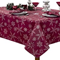 "Benson Mills Christmas Twinkle Snowflake Metallic Tablecloth, 60"" X104"", Red/Silver"