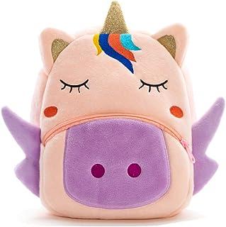 可爱幼儿背包幼儿包毛绒动物卡通迷你旅行包适合2-6岁女婴男孩(手套独角兽)