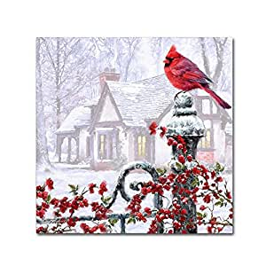 Trademark Fine Art Cardinal on Gatepost 由 The Macneil Studio 制作 24x24 ALI09712-C2424GG