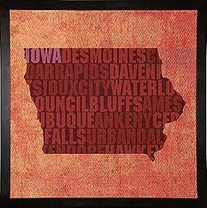 Frame USA Iowa State Words-BOWMAN121991 版画 29.85 厘米 x 29.85 厘米 Red Atlas Designs 作品,29.85 厘米 x 29.85 厘米,咖啡咖啡色浓咖啡色