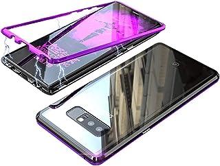 HONTECH 兼容 Galaxy Note 8 手机壳,超薄吸磁金属框架,内置磁铁翻转钢化玻璃盖