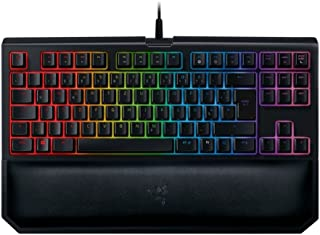 Razer 雷蛇 BlackWidow 锦标赛版 Chroma V2 线性和静音机械游戏键盘(激光黄色开关,紧凑布局,RGB 背光,全可编程英式布局)