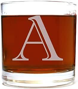 蚀刻交织字母 10.5oz Rocks 老式低球玻璃 适用于威士忌 Scotch Bourbon 透明