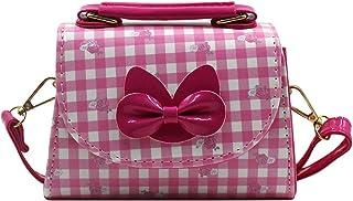 Suillty Kids 幼儿可爱蝴蝶结斜挎包手提包单肩包钱包带花朵图案女孩钱包 均码 玫瑰红