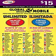 $15 全球直銷無限電話卡 - 30 天可獲得無限的國際和國內長途電話。