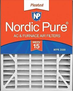 Nordic Pure 20x25x5(4-7/8 实际深度)MERV 15 Trion Air Bear 替换褶皱交流炉空气过滤器,2 件装