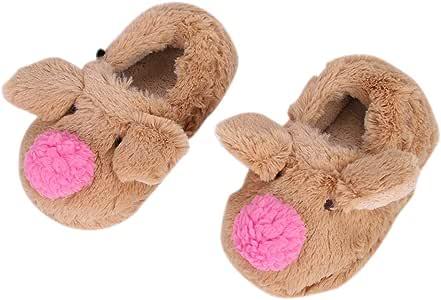 QCHOMEE 女婴卡通猪拖鞋室内冬天温暖柔软舒适婴儿毛绒羊毛防滑鞋男童儿童可爱毛绒绒脚踝靴 棕色 9-10 M US Toddler Baby Girls' Cartoon Pig Slipper