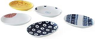 CtoC JAPAN Select 一人生活 餐具 豆盘 改造画 5种花纹组合 多色 W 10cm xD 8cm xH 1.7cm 日本制造