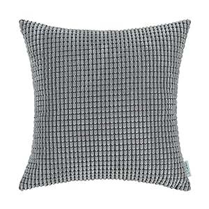 CalTime 舒适抱枕枕套沙发床舒适超柔软灯芯绒玉米双面双面条纹 中度灰 20 X 20 Inches DSC0279E50