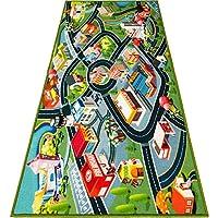 儿童地毯游戏垫地毯 - Hot Wheels 赛道和玩具的有趣地毯城市地图 - 幼儿男孩汽车地板垫 - 卧室、游戏室、客厅游戏垫 适合小孩的游戏垫 - 152.4cm x 81.3cm