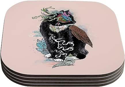 """Kess InHouse Mat Miller""""黑色魔法""""抽象猫杯垫,4 x 4 英寸,4 只装"""