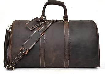 男式全粒面牛皮旅行行李包,大容量周末包夜随携带行李袋 棕色 7 L