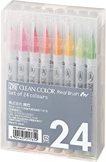 呉竹 Clean Color Real Brush 水彩笔(24 支彩色笔套装)RB-6000AT/24V