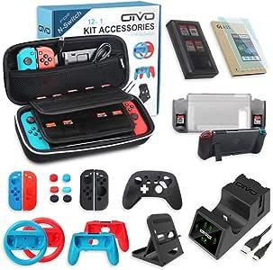 多合一开关配件套装,OIVO 套装带手提箱,Joy-con 控制器充电底座,开关支架,游戏套,保护套,屏幕保护膜,抓握和方向盘,适用于 Nintendo Switch