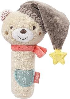 FEHN 060478 抓握小熊/搖鈴 吱吱叫 觸感 帶可愛柔軟的織物動物玩耍 – 適合0個月以上寶寶和幼兒