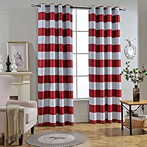 Melodieux Stripe Fashion Room Darkening Blackout Grommet Top Curtains, 52 by 96 Inch, Red (1 Panel)