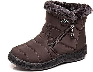 XIANV 女式雪地靴冬季防滑防水及踝保暖毛皮内衬家居鞋