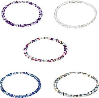 Mountainer 5 件套面罩支架串珠项链 – 手工彩色种子珠面具颈部挂绳适合女士男士