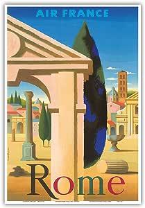 """太平洋岛屿艺术罗马,意大利 - Villa - 法国 - Nathan 复古航空旅行海报 c.1957 - 艺术印刷 13"""" x 19"""" PRTC3156"""
