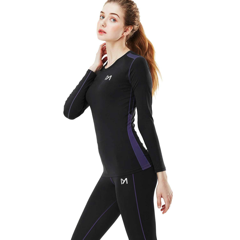 女性の冬の下着セット、スポーツは長いレギンスジョン、アウトドア用品、圧縮トップスとボトムスを温めますランニングに適したスキー
