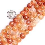 天然圆珠半珍贵宝石散珠用于珠宝制作链 38.1 cm Crackle Agate 10mm