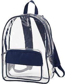 透明 43.18 x 30.48 丙烯酸和涤纶装饰基本款多功能背包 Clear Navy Blue 17 x 12