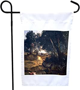 Rikki Knight Jean-Baptiste-Camille Corot Art Forest of Fontainebleau 房子或花园旗帜,尺寸为 27.94 x 27.94 cm 图片,30.48 x 45.72 cm