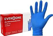 EverOne 丁腈橡胶检验手套 无粉末无乳胶 蓝色 中号 每箱10包100只,计1000只