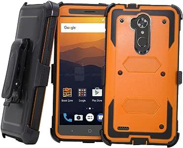 中兴 Max XL 手机壳,中兴刀片 Max 3 手机壳,Telegaming 重型防震装甲手机壳带旋转夹皮套适用于中兴 Max XL N9560 Z986/Blade Max 34326858128 橙色
