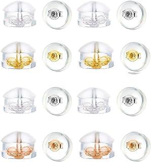 Fomissky 透明耳环替换橡胶,8对纯银内部*硅胶耳环耳环耳环耳环耳环耳环耳环白金/玫瑰金/镀金