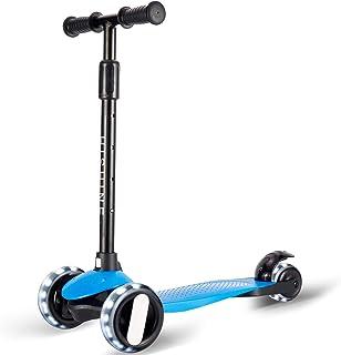 Hishine 男孩和女孩 3 轮滑板车,可调节高度幼儿滑板车,带 LED PU 轮的儿童滑板车,带超宽车轮和踏板,倾斜转向,可拆卸手柄,2-5 岁