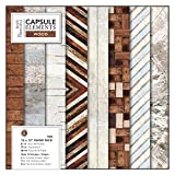 """Papermania 12 x 12"""" Paper Pack (36PK) - Elements Wood, Multicoloured, Pack of 36"""