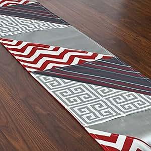 Brite Ideas Living & Company 三角形拼接接跑道,12.5 英寸 x 66 英寸,红色/白色/灰色